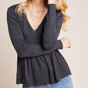 Anthropologie t.la gray long sleeve baby doll top